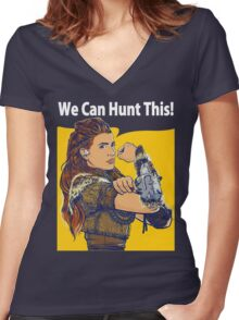 Dawn of Hunter Women's Fitted V-Neck T-Shirt