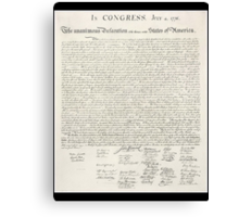 Declaration of Independence, United States of America, American Independence,USA Canvas Print