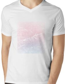 Pink and Blue Marble Gradient Effect Mens V-Neck T-Shirt