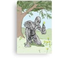 Robot smelling the flowers Canvas Print