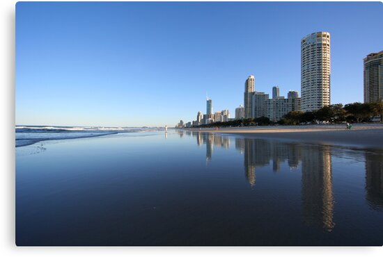 Reflections in the sand, Surfers Paradise by Martin Pot
