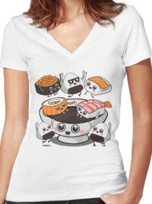 Sushi Rock! Women's Fitted V-Neck T-Shirt