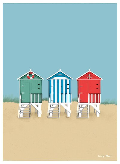 Colourful Beach Huts by LucyOlver