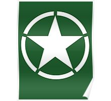Army Star & Circle, WW11, Jeep, USA, America, American, White on Green Poster