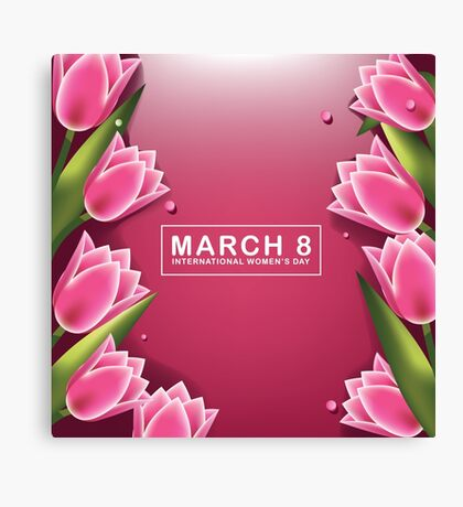 March 8 International Womens Day pink background with pretty tulips Canvas Print