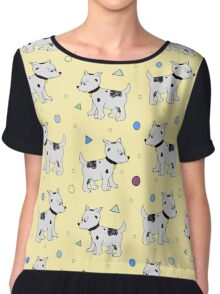 Happy Birthday Party seamless pattern with pupies, dogs Chiffon Top