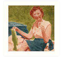 Louise Caught a Fish Art Print