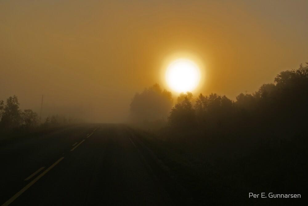 Highway sunrise by Per E. Gunnarsen