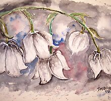 Lily of the Valley Flower watercolor painting poster print by derekmccrea