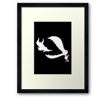 Little Cute Bird - white on black Framed Print
