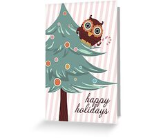 Cute Christmas candy cane owl happy holidays Greeting Card