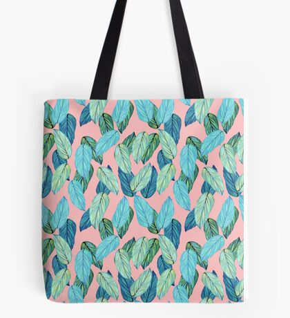 Tropical Leaves in Aqua and blue on coral Tote Bag