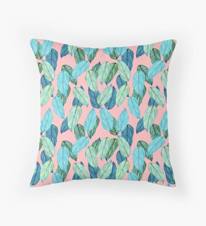 Tropical Leaves in Aqua and blue on coral Throw Pillow