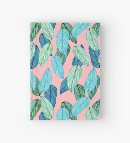 Tropical Leaves in Aqua and blue on coral Hardcover Journal