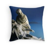 White on blue Throw Pillow