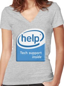 Funny Intel Parody Logo Computer Tech Support Women's Fitted V-Neck T-Shirt