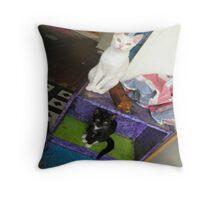 Book Cats Throw Pillow