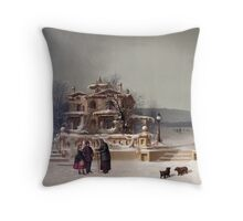 American Winter Scene Throw Pillow
