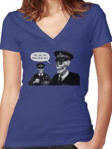 Skeleton Police (Blue) Women's Fitted V-Neck T-Shirt