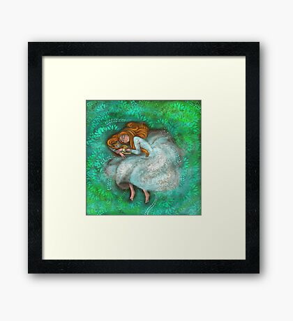 Sleeping with cat Framed Print