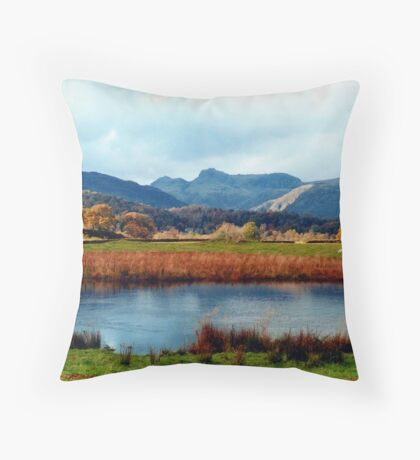 River Brathay and the Langdale Pikes Throw Pillow