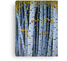 Ten Cardinals In Birch Trees Canvas Print