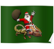 Santa Claus Riding On Giant Panther Chameleon Poster