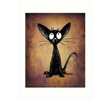 Funny Little Black Cat Art Print