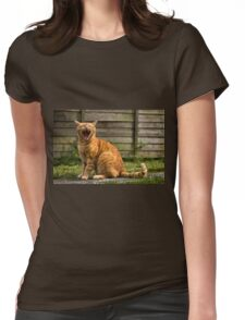 Adorable cat yawning Womens Fitted T-Shirt