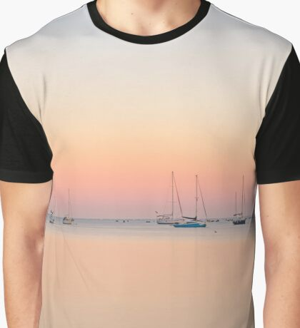 Sunrise Calm Water and Sailboats Graphic T-Shirt