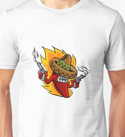 Mexican red chili pepper with guns. Unisex T-Shirt