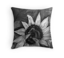 Oil Sunflower 2 Black and White  Throw Pillow