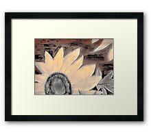 Oil Sunflower Sepia Painting poster print Framed Print