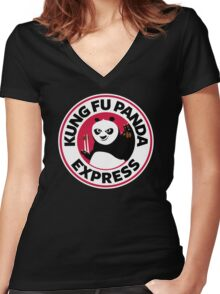 Kung Fu Panda Express Women's Fitted V-Neck T-Shirt