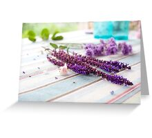 Pastel purple/lilac flowers bunch on the table Greeting Card