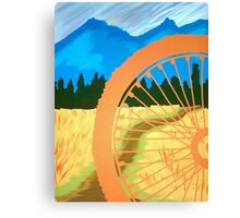 Mountain Biking Dirt Trail Scene Canvas Print