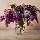 Fresh lilac in glass flowerpot by JBlaminsky