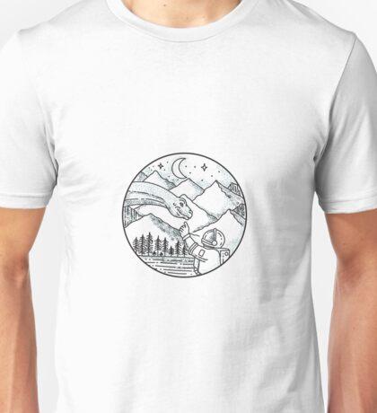 Brontosaurus Astronaut Mountain Circle Tattoo Unisex T-Shirt