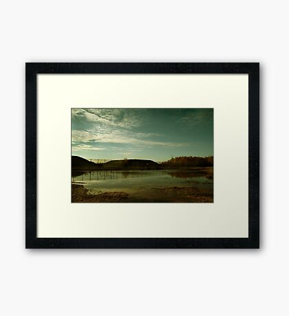 Reflections at the Missile Silos - Greenham Common Framed Print