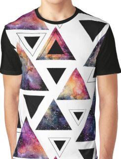 Watercolor Triangles and Colorful Galaxy Graphic T-Shirt