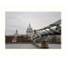 St Paul's Cathedral & Millennium Bridge, London Art Print