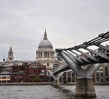 St Paul's Cathedral & Millennium Bridge, London by Hilda Rytteke