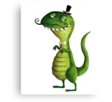 Sir T-rex with Fancy Mustaches Canvas Print