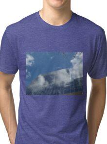 Clouds, Building, Reflection, Jersey City, New Jersey  Tri-blend T-Shirt