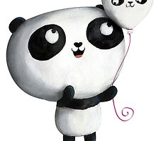 Cute Panda with Balloons by colonelle