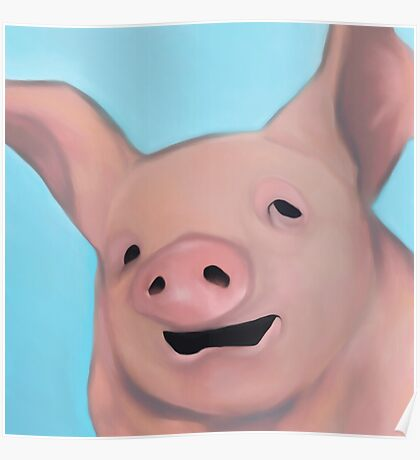 a portrait of a pig Poster