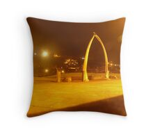 Whitby Whale Bones at Night Throw Pillow