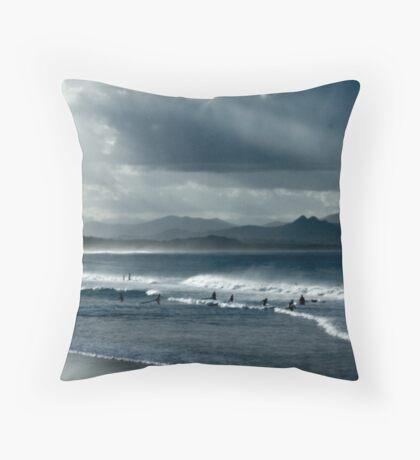 Byron Beach Winter Landscape Throw Pillow
