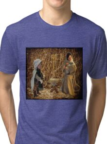 NATIVITY SCENE--Come they told me Pa rum pum pum pum  A new born King to see Pa rum pum pum pum>DRUMMER BOY & BIRTH OF THE KING >PILLOW > TOTE BAG> TRAVEL MUG > Tri-blend T-Shirt
