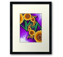 Golden Autumn Flowers Framed Print